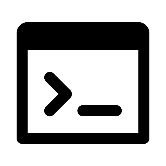 Console icon. This is a picture of a paper with a logo in the middle of it that contains a right pointing arrow next to a small line (or space). The top of the paper has a bar on it.