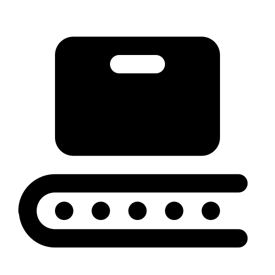 Déploiement icon. A square with a very thin oval inside the center top part of it. Underneath the square after a small gap of space is a long oval with a curved ending on the left and three small circles spaced horizontally inside.