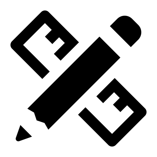 Projekt icon. The icon has two shapes that cross each other. The top shape resembles a thin rectangle with a curved top and a pointed bottom. The bottom image is a rectangle shape that has 10 lines inside the top part of it.
