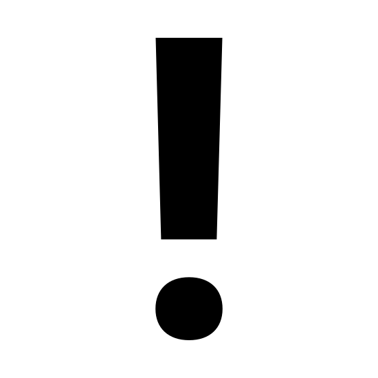 Exclamation Mark icon. The icon shows an exclamation mark. The top of the exclamation mark is a long vertical line. At the bottom of the exclamation mark, there's a small dot. It is used at the end of sentences to show excitement.