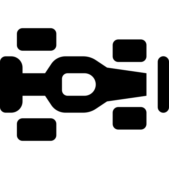 Race Car icon. This image depicts the top-down view of an F1 racecar. The racecar is facing to the right of the viewer. It shows four wheels, the cockpit of the car, the body, and the front and back fins.
