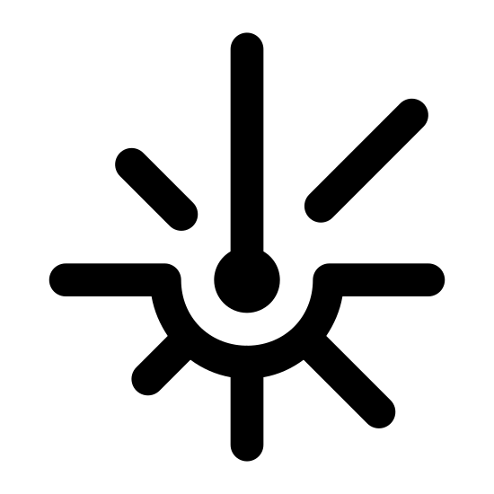 Wiązka laserowa icon. The icon is a stylized, simple depiction of a laser beam hitting something and radiating in all directions. The beam itself comes directly from the top of the image, hitting the center with a small bulb representing the impact point. Lines extend outward from the bulb, representing the light radiating from the impact.