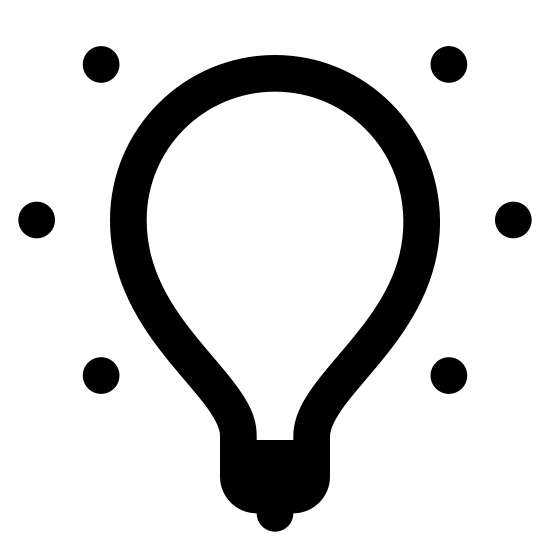 Światło włączone icon. There is a light bulb facing upwards. Around the light-bulb there is seven visible diagonal lines all beaming off in different directions giving the idea of emitted light.