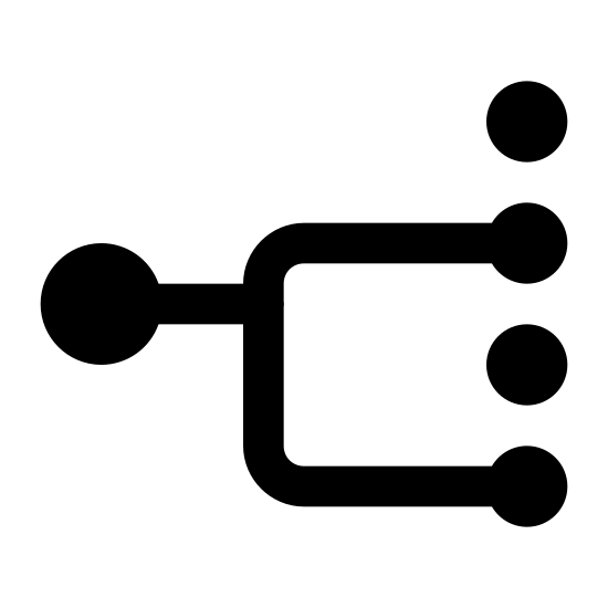 Multicast icon. There is a medium sized circle on the left. Attached are two squiggly arrows directed towards two of four small circles vertically aligned to the right of the larger one.