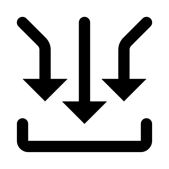 Wiele wejść icon. A drawing with three arrows, left to right, pointing down. The arrows on the left and right are parallel to one another with stems bent at opposite 90 degree angles, the arrow in the middle is higher than the other two. All three arrows point down to a line that is turned up at either end at 90 degree angles.