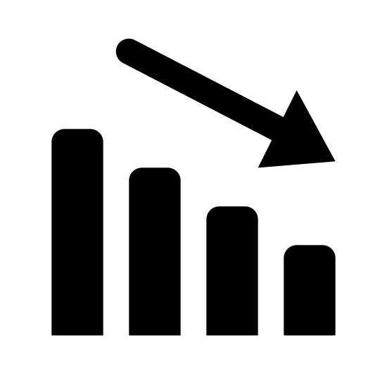 Decline icon. The negative dynamic icon is represented by three rectangular bars going from taller to very short. The bars are next to each other, with some space in between, with the tallest bar on the left. Above the three bars is an arrow point down, running along the same downward angle as the 3 bars. The arrow is a single line drawing.