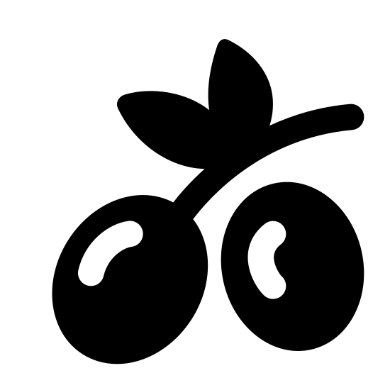 Oliwka icon. This image represents an olive. There are two olives with lines to show reflection on them. One olive is connected to a stem and there are two leaves on this stem.