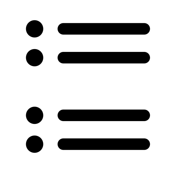 Questionnaire icon. The image is of four little square in a horizontal line on the left. To the right of each square is a single solid line. The squares are not touching each other. The lines are not touching each other or the squares.
