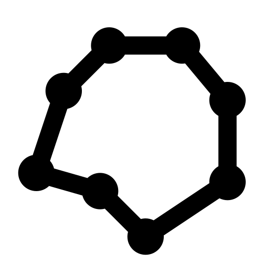 Radar Plot icon. This picture is of a radar plot with eight dots connected with lines to form a geometric shape. It is an octagon with two sides on the left side poking inwards.