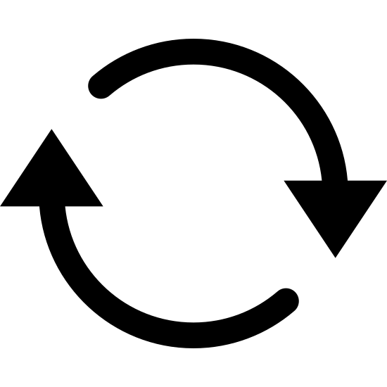Rafraîchir icon. This is a photo of two arrows. One arrow is pointed down, the other is pointed up. The beginning of each arrow is straight, and then curves either upward or downward.