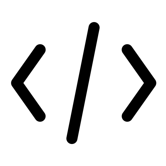 Kod źródłowy icon. The image is of a greater than and less than symbol with a forward slash in between them. None of the symbols are touching. The less than sign is on the left. The greater than sign is on the right.