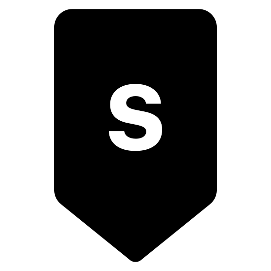 Południe icon. This logo indicates the direction South. It has a capital letter S in the center of a shape. The shape is open on the top, and has long vertical lines on the right and left of the S. At the bottom of the S it has two lines which join together to make a point - pointing south.
