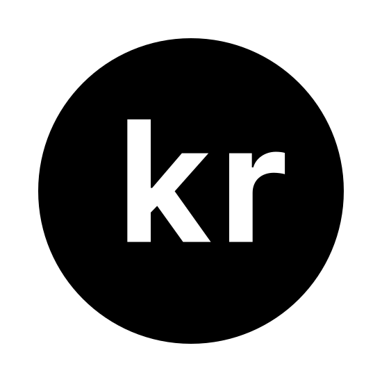 Swedish Krona icon. The icon is a regular circle. within the circle are the letters 'kr.' both letters are lower case and of identical font. the letters fill up approximately half the circle.