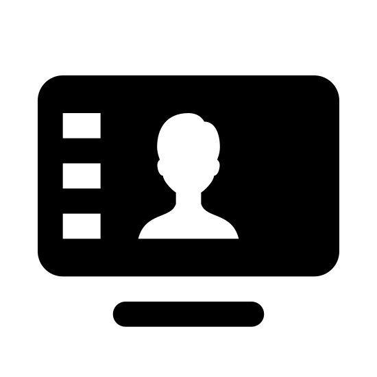Videokonferenz icon. This is a picture of an LCD television with a person on the screen. underneath the person is four blocks in a horizontal pattern. you can see the base of the tv is flat.