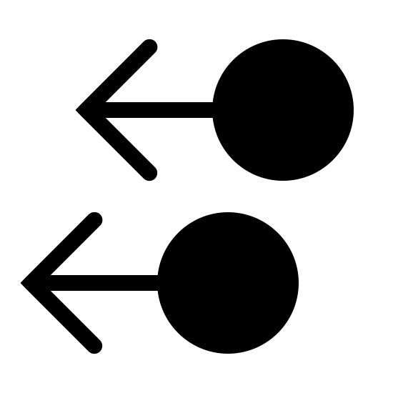 Two Finger Swipe Left Filled icon. There are two matching symbols, one atop the other. They both have left arrows which are then attached to circles. The symbols are placed vertically, the top figure is placed a little behind the bottom.