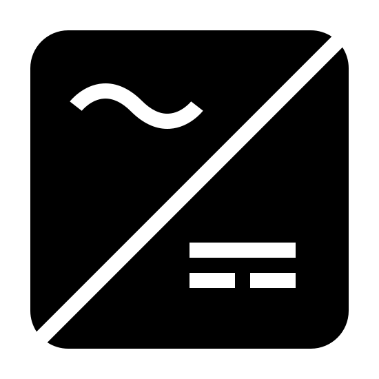 Dynamo Filled icon. It is a square with a line cutting it in half diagonally from top right to bottom left. in the left section of the square we have a squally line and in the right sections we have a small horizontal line with 2 smaller horizontal lines under it. these are the symbols for ac and dc respectively