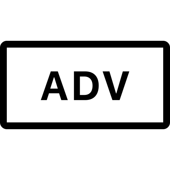 Przysłówek icon. There is a rectangle with rounded edges and in the middle are the letter ADV, which stands for the word adverb.