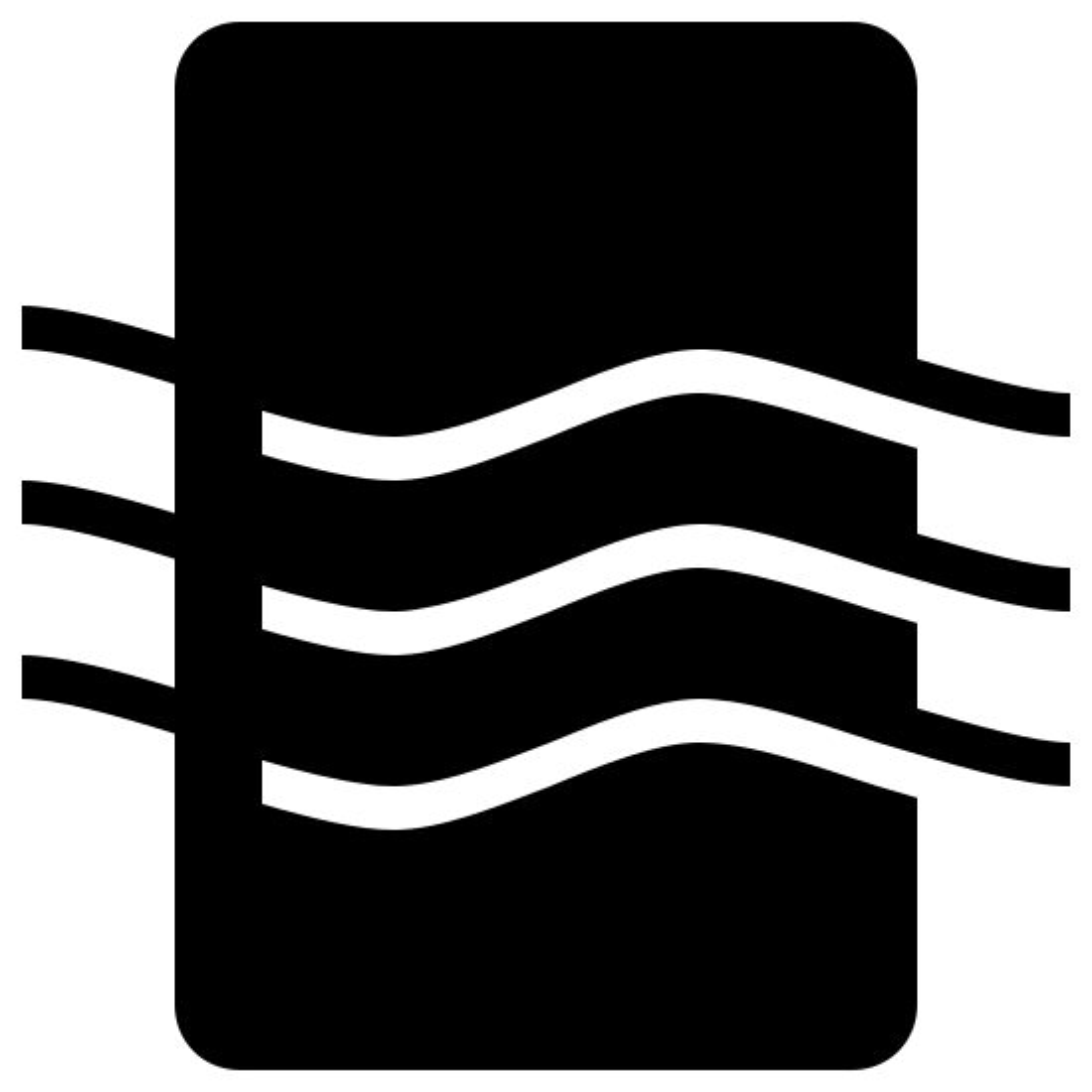 空気品質 icon. It's a logo of a rectangle in portrait orientation with curved edges. Coming through the rectangle from left to right are curved line waves. There are three of them and they curve down then up then down.