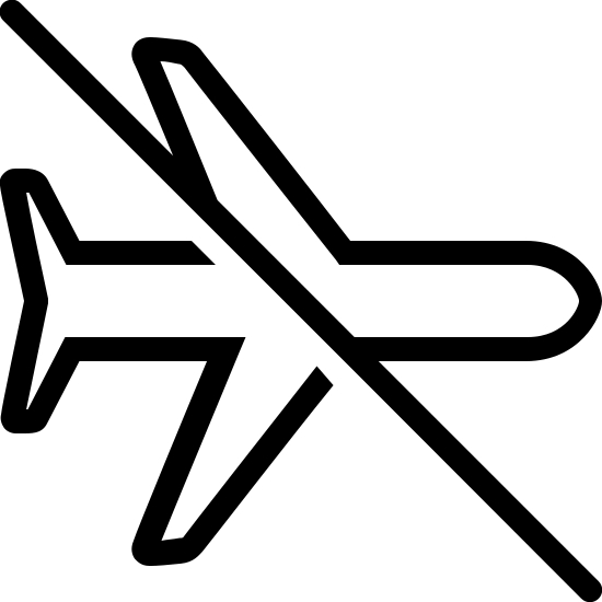 """Airplane Mode Off icon. The """"Airplane Mode Off"""" icon is an outline of an airplane from an overhead perspective. There is a single line crossing in front of the airplane, drawn diagonally downward from left to right."""