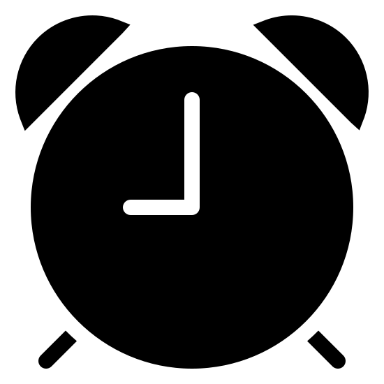 Alarm Clock Filled icon. It is round with two half circles on both sides of the top. The bottom has legs and there is a line pointing at noon and 9 pm.