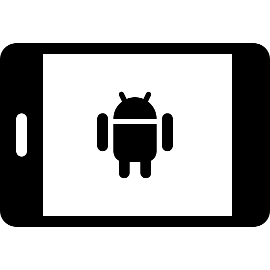 Android Tablet Filled icon. It's an icon of a smartphone laying horizontally. The Android alien logo is on the screen.