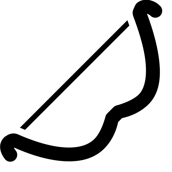 Archers Bow Filled icon. The logo is a bow from a bow and arrow set. The long straight end of the bow extends from the bottom left to the top right, and the curved end of the bow runs below it, curving out and then back towards the bow string in the center.