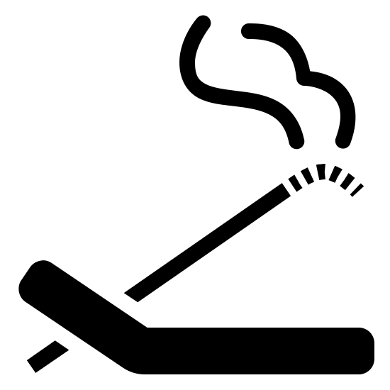 Kadzidełka icon. There is a bent stick facing the left side. there is one smaller line facing the right side of the picture and it appears to have smoke coming out of it.