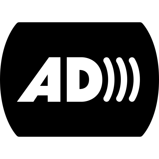 Audio Description Filled icon. This icon is depicting the letters AD with three curved lines emanating from it as if to indicate sound waves. The letters of the 'A' and 'D' are outlines and rest in the center of a curved rectangular shaped object.