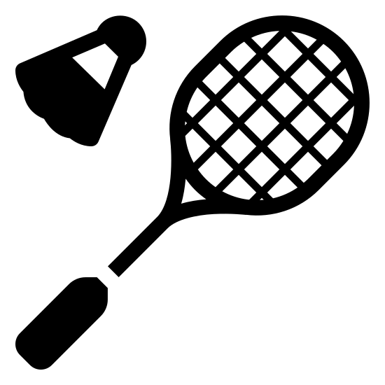 Badminton icon. This looks like a circle with several lines in the center of it, forming a grid. There's a line extending from the bottom left of the circle, connecting to a rectangle. There's a trapezoid floating to the left of the circle, with a tiny circle connected to the top of the trapezoid.