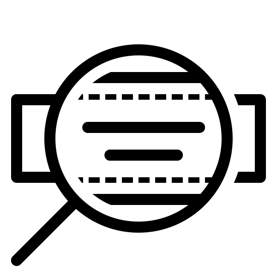 Bag Brand icon. The image is a rectangle with a magnifying glass in front of it making the magnified part bigger. On the rectangle, there are two horizontal lines on top of each other. The line on the top is longer than the one underneath.