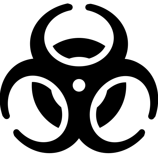 Biohazard Filled icon. It's a closed off circle, like a ring, with an almost flower like shape on top of it. This flower like shape is make of three almost closed off letter c's, which are incomplete circles, at different angles and anchored to the center of the ring beneath them with a single dot.