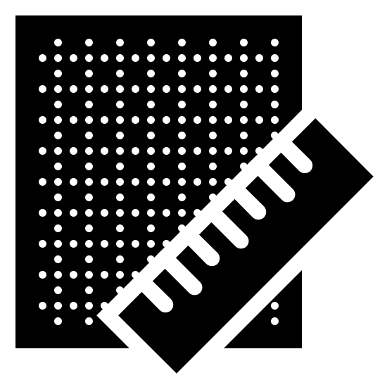 Blueprint Filled icon. The icon is a simplified depiction of a piece of grid paper with a ruler across its southeast corner. The grid paper is an angular piece of paper, with sets of parallel dotted horizontal and vertical lines extending across the expanse of the paper. The icon symbolizes a blueprint.
