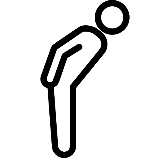 Bowing icon. This logo shows a drawing of a person shown from the right side of them. In the logo, the person's arm is to the side of them, facing downwards. The person is bowing forwards at the hips, with their back slightly leaning towards the ground, indicating the person is bowing.