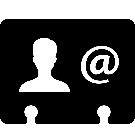 Geschäftskontakt icon. A business contact icon is a rectangle, but it isn't complete because at the bottom there are two half like circles that looks like someone hole punched it. In the rectangle there are two symbols, on the left there is a person and on the right there is an at sign.