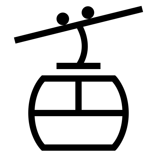 Cable Car icon. It's a logo of a cable car travelling along the cable. The car has two windows on it with a line connecting up to the cable and two wheels on top of the top cable. The main cable is slightly diagonal from left going up to the right.
