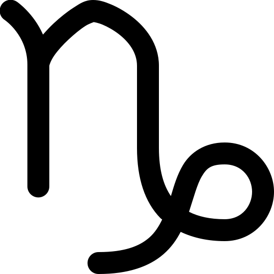 Koziorożec icon. This object looks like just doodling at first, but then you see it is a lower case 'N' but the ending of it turns into a loop-de-loo with a curved ending.