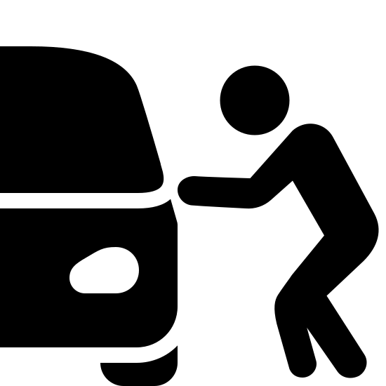 Car Theft Filled icon. This icon is depicting a person next to a car in a crouched position. Only the rightmost portion of the car is visible, and the person is seen as reaching toward the door of the car.