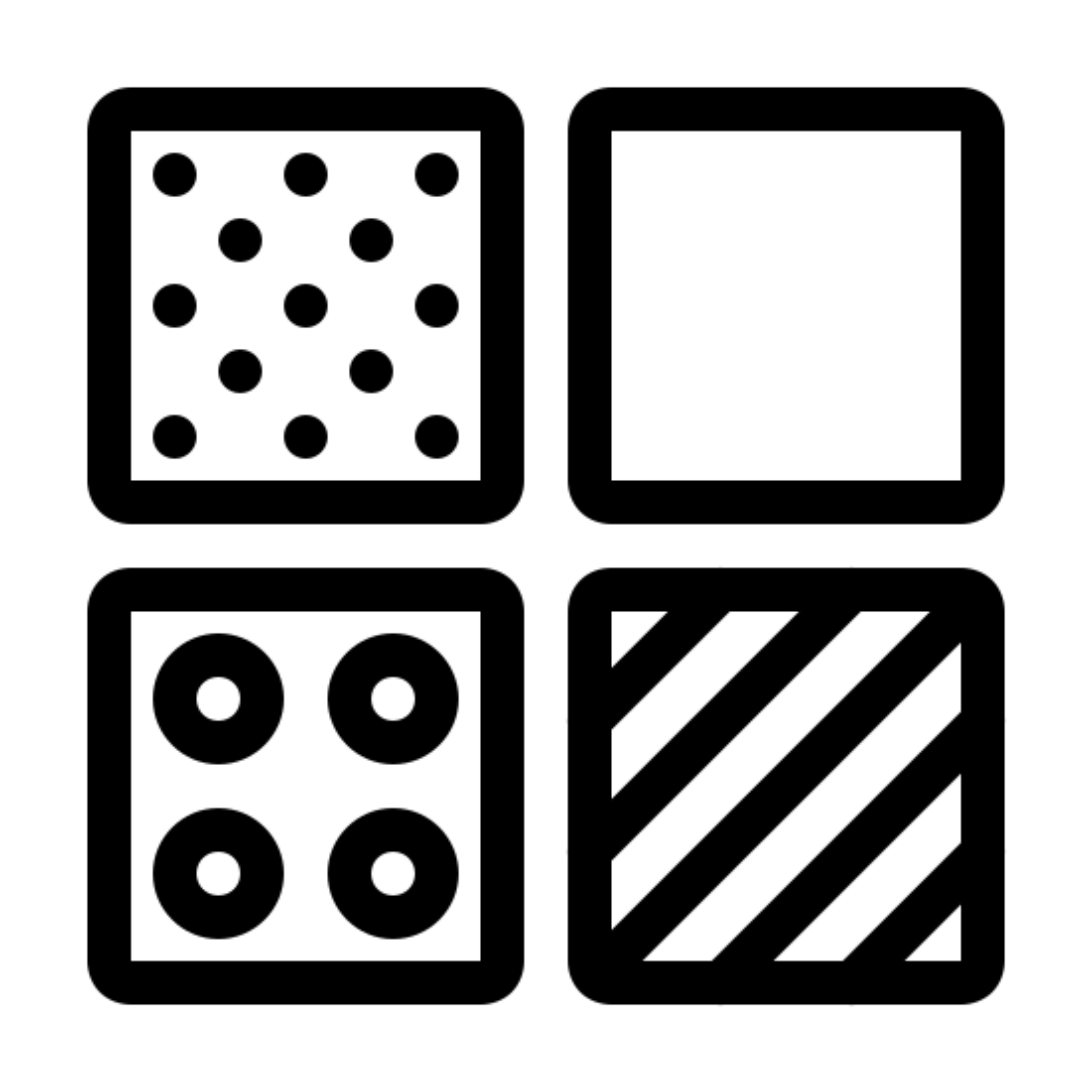 分類 icon. This is a picture of four small squares in organized to make a big square. The top right square has small black dots all over.The square to the right is an empty white box. the small box below the white box has lines going sideways, the box to the left of this box has four circles inside