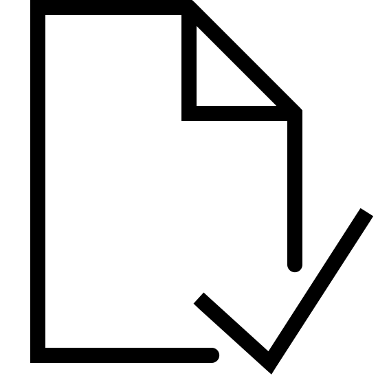 Sprawdź plik icon. The icon looks like a vertically oriented rectangle. however, the right corner has been folded in to form a right triangle within the rectangle. the right and bottom sides are also missing segments. instead, a checkmark shape is present in this spot