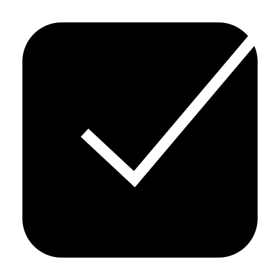 Tick Box Filled icon. This is a checkmark inside of a square with rounded corners. The square has four normal sides and three normal corners, but the top-right corner is open. The checkmark's tail would meet the top right corner if the square was complete.