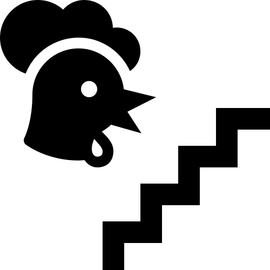 Grzęda icon. On the right there is a line signifying stairs that ascends from diagonally from left to right in a series of right angles. To the left of this is the head of a rooster facing toward the stairway.