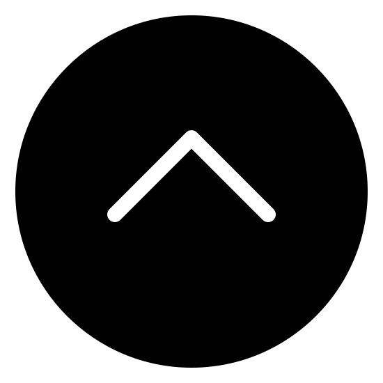 Slide Up Filled icon. The logo is an unfilled circle, and centered on the inside is a carat simple. The carat symbol is pointed in the upwards direction, like an arrow without a tail. The carat is centered on the inside of the circle.