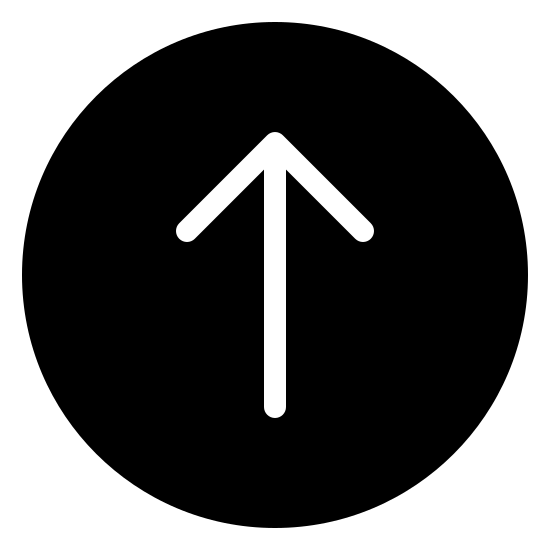 Scroll Up Filled icon. This is a circle with a line in the center of it. The arrow has V on the top side of it. The V is upside down, and the line is connected to the V at its center point, similar to an arrow.