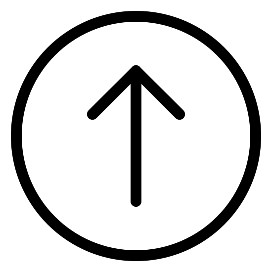 W górę w kółku 2 icon. This is a circle with a line in the center of it. The arrow has V on the top side of it. The V is upside down, and the line is connected to the V at its center point, similar to an arrow.