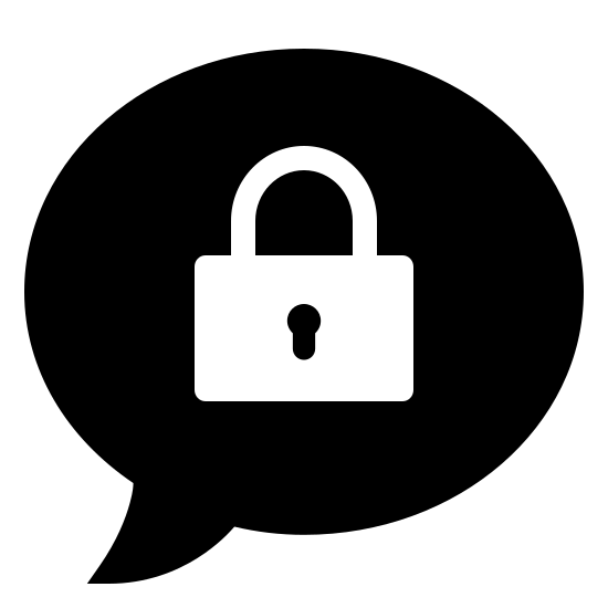 Closed Topic  Filled icon. This icon is a circular speech bubble, with a curved point at its bottom coming from the bottom left. Inside the speech bubble is an icon of a lock, which is a small rectangle with a hole in the middle and a curved line on top.