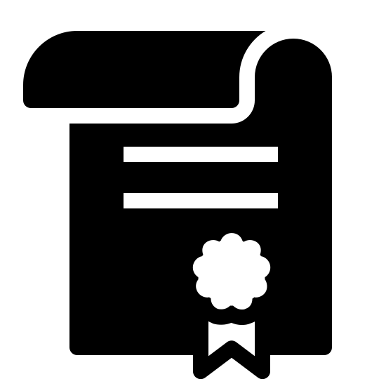 Contract Filled icon. Looks like a rectangle with the top half folded in front to create a sort of tube shape. near the top inner region of the rectangle are two parallel horizontal lines. beneath this is a ribbon like drawing.