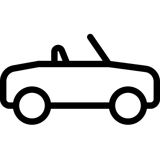 Kabriolet icon. There's a rectangle with two circles on the bottom- one on the left and one on the right to symbolize wheels. On the top of the rectangle there is a slanted line where the window would be on a car and a small triangle symbolizing the car seats.