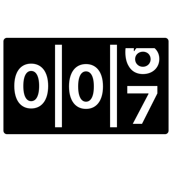"""Counter Filled icon. There are three small, vertically placed rectangles right next to one another. In each of these rectangles there is a number that is designed to move. Currently, the first two rectangles show the number """"zero"""" and the third is changing from """"six"""" to """"seven."""""""