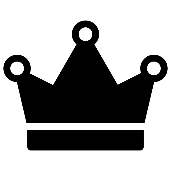 Crown Filled icon. This logo depicts a crown. It has a small wide rectangle on the bottom with a three-pointed triangle on top of it. There is a circle at the point of each triangle.