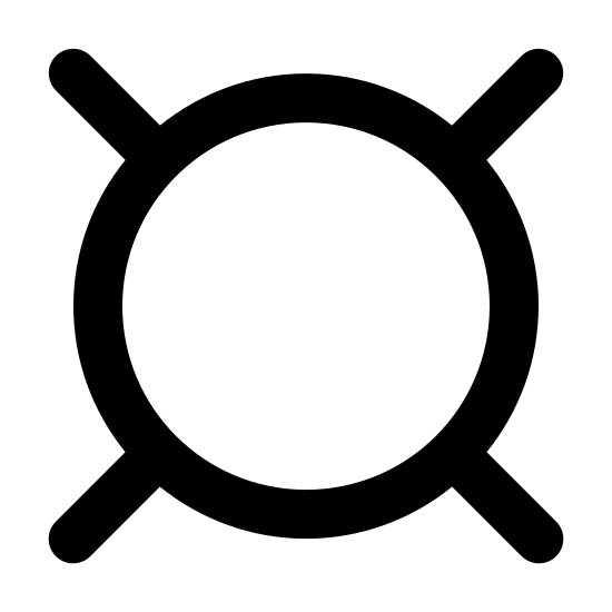 Currency Filled icon. The currency icon is a circle with four equal length lines coming out of it at diagonals. It is fairly plain, and used to generically define the following number as currency.